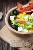 Fresh Greek salad with olive oil Royalty Free Stock Images