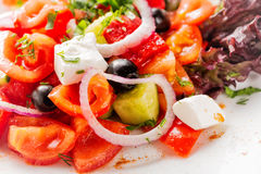 Fresh Greek salad with onion. Close up with selective focus Stock Image