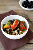 Fresh greek salad with vegetables and cottage cheese. Food close up Stock Images