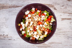 Fresh greek salad with vegetables and feta cheese Stock Image