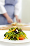 Fresh Greek salad on white plate Royalty Free Stock Images