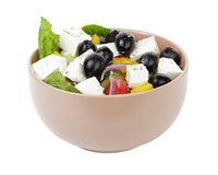 Fresh greek slad in clay bowl Stock Image