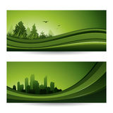 Fresh green abstract nature banner with trees and cityscape Royalty Free Stock Photography
