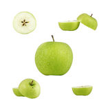 Fresh green apple. Collage of cut, sliced and halfed fresh green apple, isolated against white stock photo