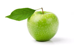 Fresh green apple. With leaf isolated on white background Royalty Free Stock Images