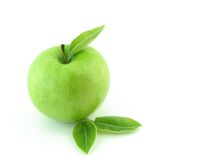 Fresh green apple. On white background royalty free stock images