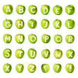 Fresh green apple alphabet. Stock Image
