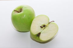 Fresh green apple with apple half #6 Royalty Free Stock Images