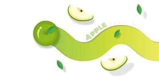 Fresh green apple fruit background in paper art style vector illustration
