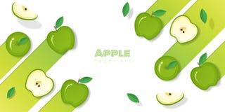 Fresh green apple fruit background in paper art style stock illustration