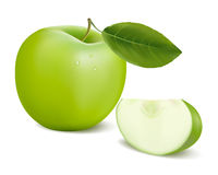 Fresh green apple with green leaf. Stock Photography