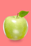 Fresh green apple isolated on red Royalty Free Stock Photo