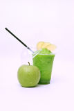 Fresh green apple juice. Apple juice, green healthy and cool on a white background Royalty Free Stock Images