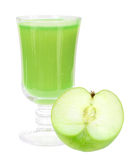 Fresh green-apple juice and apple Stock Image