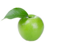 Fresh green apple with leaf Stock Images