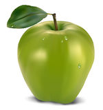 Fresh green apple with leaf Stock Photos