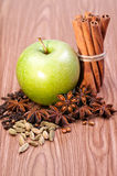 Fresh green apple with spices Stock Photos