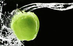 Fresh green apple underwater Royalty Free Stock Image