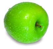 A fresh green apple with water drops over white Stock Image