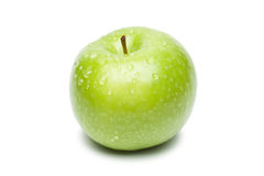 Fresh green apple with waterdrops Royalty Free Stock Photos
