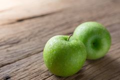 Fresh Green Apple on Wood. Close up of Fresh Green Apple on Wood royalty free stock photography