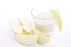 Fresh green apple yoghurt shake isolated Royalty Free Stock Photography