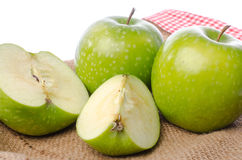 Fresh green apples on burlap Royalty Free Stock Photo