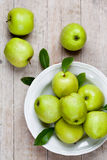 Fresh Green Apples In Plate Stock Photo