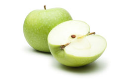 Fresh green apples isolated over white Stock Photos