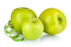 Fresh green apples and measuring tape Stock Photo