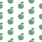 Fresh green apples seamless pattern, hand drawn icons. Colorful vector wallpaper. Good for printing Stock Images