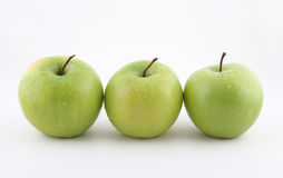 Fresh Green apples on white. Healthy Fresh 3 green apples Stock Photography