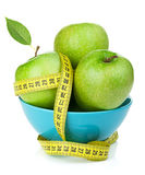 Fresh Green Apples With Yellow Measuring Tape Royalty Free Stock Image