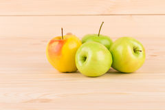 Fresh green apples on wood. Royalty Free Stock Images