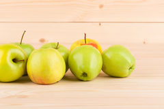 Fresh green apples on wood. Stock Photography