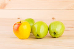 Fresh green apples on wood. Royalty Free Stock Image