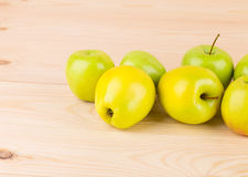 Fresh green apples on wood. Stock Photo