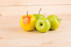 Fresh green apples on wood. Stock Image