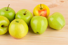 Fresh green apples on wood. Royalty Free Stock Photos