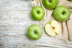 Fresh green apples. On wooden background Stock Image