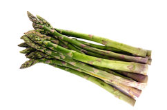 Fresh Green Asparagus. Large bunch of asparagus isolated on a pure white background Stock Photos