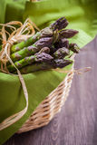 Fresh green asparagus. In basket Royalty Free Stock Image