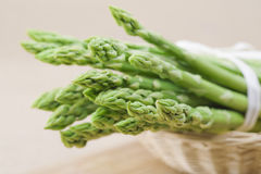 Fresh green asparagus. Bunch in basket Royalty Free Stock Photo