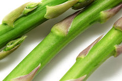 Fresh green asparagus macro raw. Selective focus.  Stock Photo