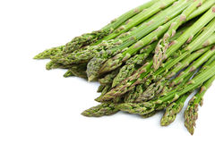 Fresh green asparagus on a white background. Royalty Free Stock Photos
