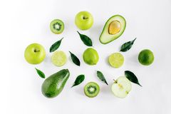 Composition of fresh green fruits isolated stock photos