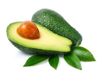 Fresh green avocado fruits with leaf Royalty Free Stock Photography