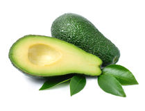 Fresh green avocado fruits with leaf Royalty Free Stock Image