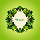 Fresh green background with floral frame. Summer Royalty Free Stock Images