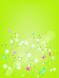 Fresh green background with flowers and butterflie Stock Images